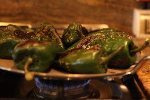 roast  the chiles pasillas on the griddle